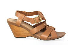 Clarks Artisan Brown Leather Strappy Wood Wedge Heel Shoes Womens 9.5M