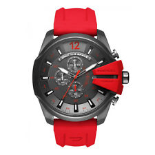 DIESEL Mega Chief Gunmetal Dial Red Silicone Band Men's Chronograph Watch DZ4427