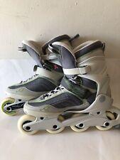 Women Size 10 K2 Athena Skates Roller Blades Green Gray Max Wheel 80mm EUC