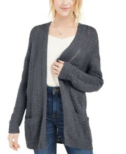 Pink Rose Juniors' Textured Long Duster Cardigan Sweater, Gray, Size L, $49, NwT