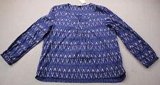 J CREW Womens Navy Blue Geometric Print 100% Cotton V-Neck LS Blouse Shirt NWT L
