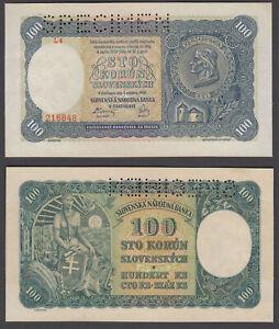 (B40) Slovakia 100 Korun 1940 (XF) Condition SPECIMEN Banknote KM #10s