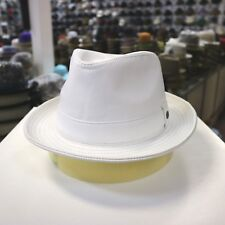 BORSALINO GENUINE LEATHER WHITE FEDORA HAT (READ DESCRIPTION FOR SIZE)