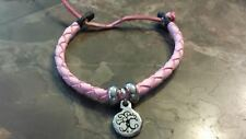 Leather Rounded Woven Adustable Bracelet Irish Pewter Pink Tree of Life