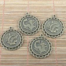 28//42pcs Argent Antique Dragon et Phoenix Charms Pendentifs Crafts Making 12*15mm