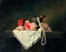 """Large oil painting beautiful still life Conch shells Pearl Necklace canvas 36"""""""