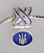 Ukrainian Trident Tryzub Sliding Bead, Bracelet Charm, Blue Enamel, Swar Crystal