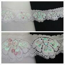 "1Y white double scalloped iridescent flat sequins stretch lace trim 1 5/8"" W."
