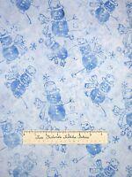 Batik Christmas Fabric Tonga Jack Frost Snowman Blue Timeless Treasures YARD