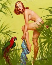 "1950's Elvgren Pin-Up Girl Jungle Poster ""Bare Essentials"" - 24x30"