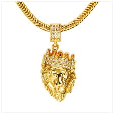 Men Women Gold Filled Hip Hop Bling Lion Head Pendant Crystal Necklace Jewelry