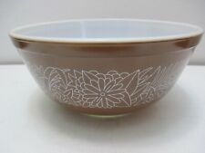 Vintage Pyrex Glass Mixing Bowl # 403 Woodland Brown & White