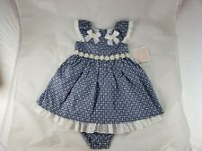 Bonnie Baby Girls Blue White Floral Daisies Summer Dress Bloomers 18 Months NWT