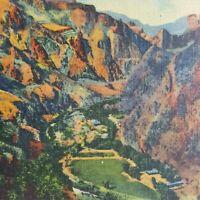 Vertical Mile Grand Canyon Rim Mountains Phantom Ranch H-3963 Vtg Postcard Litho
