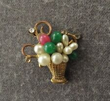 ANTIQUE JEWELED SIMULATED PEARLS & CRYSTALS DECORATED BASQUET WITH FLOWERS PIN
