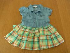 VGC Baby Girls Pumpkin Patch Denim Tiered Dress Size 12-18 mths