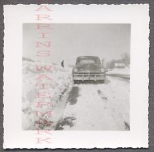 Vintage Car Photo Roadside 1949 Plymouth Automobile in Winter Snow 686664