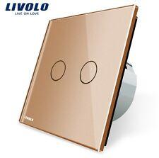 ORIGINAL Livolo Gold Touchscreen Doppelschalter Serienschalter Glas VL-C702-13