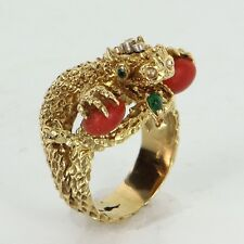 Chinese Dragon Ring Vintage 18k Gold Coral Emerald Estate Fine Animal Jewelry