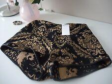 shorts estilo barroco para mujer, negro y dorado, talla 38