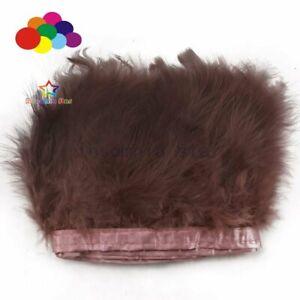 2 Meters Dark Brown Fluffy Turkey feather Trim 6-7INCH Dyed Marabou Ribbon