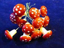 "Vintage 13pc Red Polka Dot 3/4"" Mushroom Japan Lucky Millinery Craft Lot ND3"