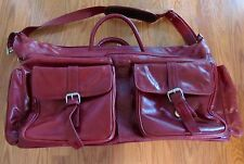 RED WINE GENUINE LEATHER LUGGAGE BAG w/ STRAPS  $399.99