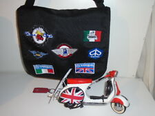 VESPA CLUB  PATCH BAG+1959 BEACH MODEL UNION JACK SCOOTER + RED LEATHER KEY TAG