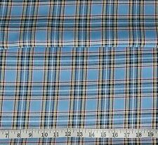 Light Blue Stewart Tartan Polyester Woven Suiting Fabric 1 metre x145cm Wide