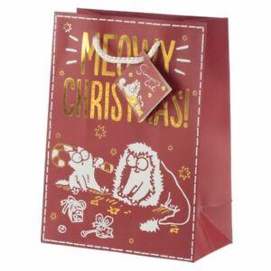 Simon's Cat Meowy Christmas Metallic Gift Bag - Medium Present 23x17cm