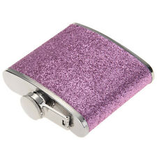 5 Oz Stainless Steel PU Alcohol Drinks Liquor Glitter Hip Flask Gift Purple Cup