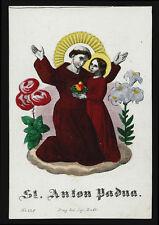 santino incisione 1800 S.ANTONIO DA PADOVA  dip.a mano RUDL