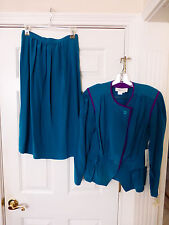 Nwt Argenti 2 pc Silk Outfit Skirt Suit Womans Size 12 Teal Vtg 1980's