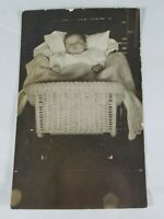 Vintage Real Photo Post Card Baby With Ring in Wicker Bassinet AZO 1910's?