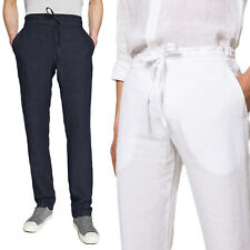 Pantalone Uomo Di Lino Elegante Jeans Casual Nero Bianco Blu Verde Veque
