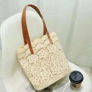 Summer Bohemian Straw Bags 25x14x28.5cm Polyester Lace Purse Top-Handle Handbags