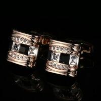 Rose Gold Plating French Cufflinks Black Diamond Mens Shirt Cuff Links Wedding N