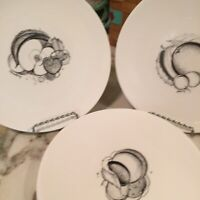 Susie Cooper Black Fruit Bone China Salad Plates England Set Of Four