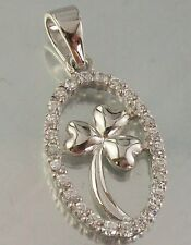 925 STERLING SILVER and clear CZ intricate Irish SHAMROCK Design CHARM PENDANT