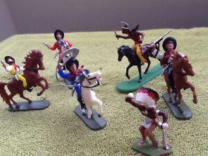 .Cowboys and Indians. Jean Hoeffler W German figures.Plastic wild west toys.
