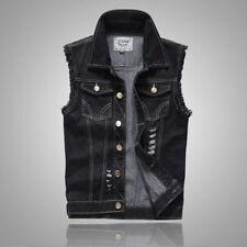 2017 Men's Denim Vest Jean Waistcoat Sleeveless Vintage Punk Casual Jacket