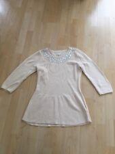 NEXT Cream Peplum Hem Knit Stretch Top Embellished Neckline Size 8 Jewelled