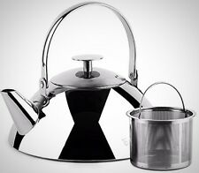 Tea Box Kettle Stainless Steel Infuser Stove Top Modern Chromed Kitchen Brewer