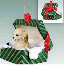 Cockapoo Blond Cream Dog Green Gift Box Holiday Christmas Ornament