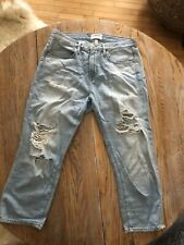FRAME Light Washed Distressed Cropped High Waisted Jeans 27
