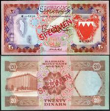 BAHRAIN 20 DINARS ND 1978 P 10 CS 1 SPECIMEN UNC