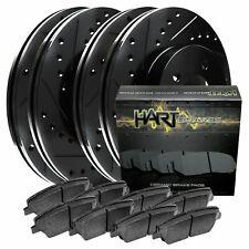 [FRONT+REAR KIT] Black Hart *DRILLED & SLOTTED* Brake Rotors +Ceramic Pads C1026