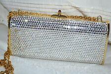 Rare Judith Leiber White Swarovski Crystal/Gold Chain Strap Minaudière Clutch