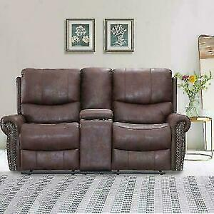 BestMassage LC-TD75-Brown-FDW Recliner Leather  Sofa Love Seat - Brown