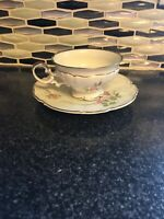 Saladmaster Heirloom Pink Rose Footed Tea Cup And Saucer Set- Germany
